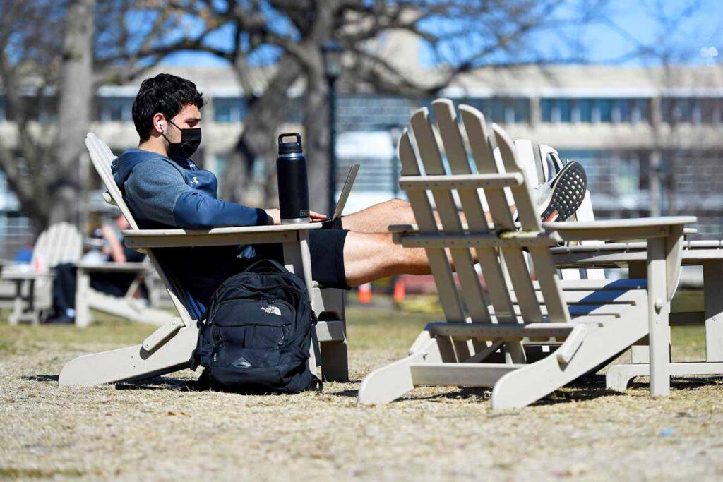Adirondack chairs on Naismith Green